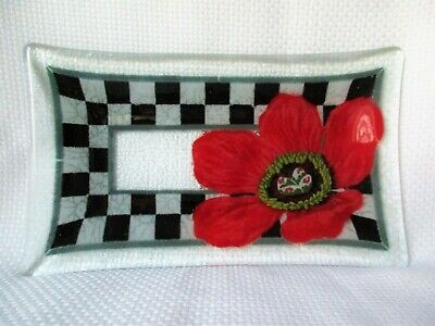 Peggy Karr Fused Art Glass Black Checkerboard Bright Red Flower Rectangular Tray