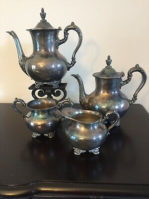 Vintage Poole Silver OLD ENGLISH 5000 EPNS Silverplate 4 Pc Coffee Tea Set