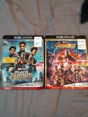 Avengers Infinity War + Black Panther 4K Ultra Hd + Blu-Ray ✔☆Mint☆✔ No Digital