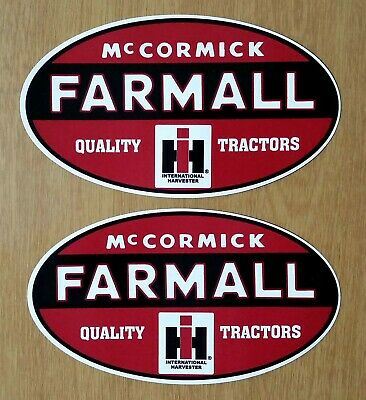 "TWO (2) McCORMICK FARMALL I H HARVESTER VINYL DECAL STICKERS TRACTOR FARM 5""x3"""