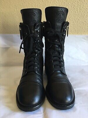 11da720f406 Chanel Womens Rounded Toes Lace Up Combat Boots Black Leather Quilted Sz 38