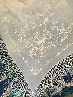 Antique Canton Chinese Embroidered Cream Silk Piano Shawl