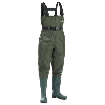 FISHINGSIR Chest Fishing Waders w/ Waterproof Nylon & PVC Cleated Boots Size US6