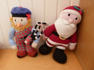 2 x Collectable Hand Knitted Soft Teddies Scottish Man & Father Christmas