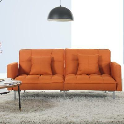 MODERN CONVERTIBLE SOFA Tufted Upholstered Futon Living Room Couch ...