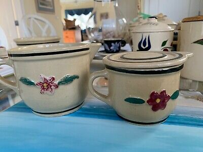 Watt Pottery Raised Rose Pansy 2 pitchers one covered