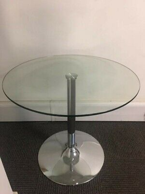 80cm Clear&Chrome Round Glass Table : Used but in excellent condition
