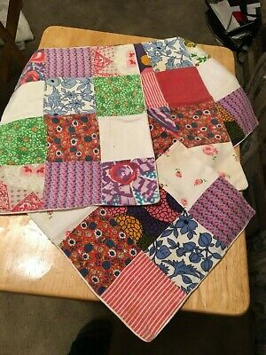 "4 Vintage 9 x 12"" Crazy Patchwork Quilt Squares Doilies Table Runners"