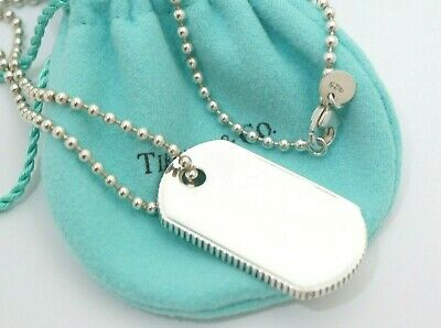 e364dd325 Tiffany & Co. Sterling Silver Coin Edge Dog Tag Pendant Beaded Necklace  19.7