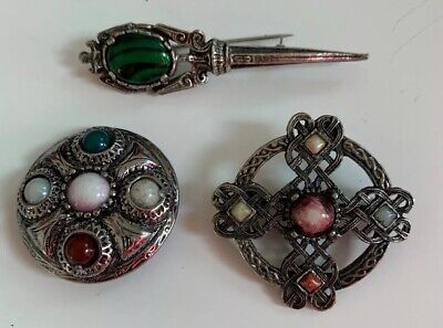 Pretty Lot Of 3 Celtic Pins Brooches In Excellent Condition Cross Circle