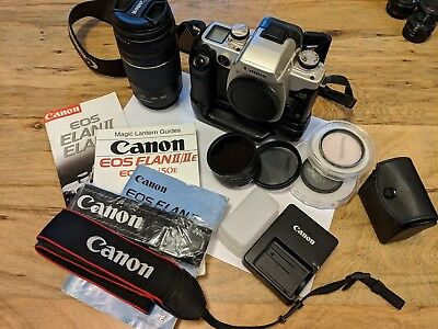 CANON LOT: EF 75-300mm 4-5.6 III USM, Elan IIe SLR, Grip, LP-E5 Charger
