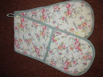 CATH KIDSTON Oven Gloves Blue Pink Floral Bleached Flowers Mitts Rare Blue