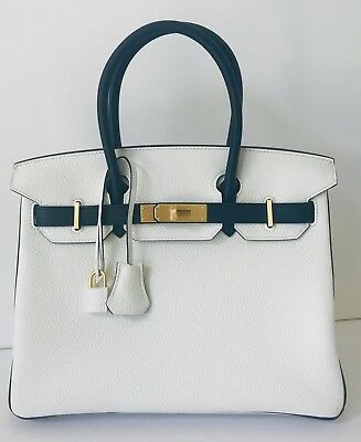 6b0f74840550 Hermes HSS Black And White Clemence Birkin 30cm Brushed Gold Hardware 19yrs  eBay