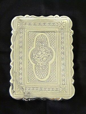 Antique Victorian Silver Card Case, Birmingham, Hilliard & Thomason, Circa 1872