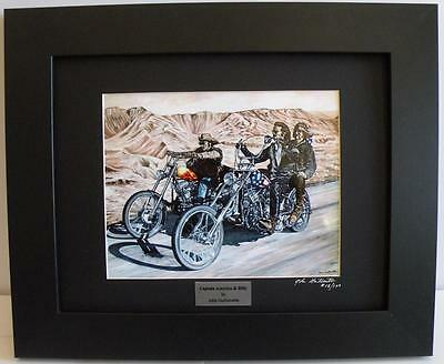 Easy Rider Harley Ltd Edition Signed Framed Motorcycle Art Print, Painting by JG