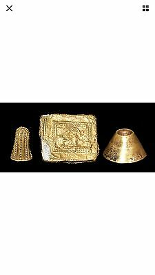 Ancient Neareast Asian Gold Finial & Plaque Group