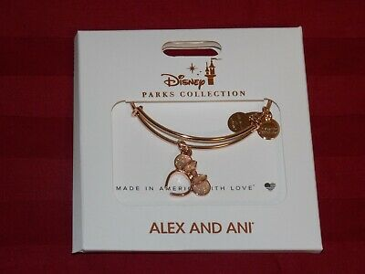 Disney Parks ALEX AND ANI Rose Gold Minnie Ears Headband Bangle Bracelet IN HAND