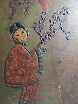 Antique Vintage Asian Japanese /  Chinese Painting On Board signed