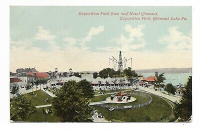 1910 CONNEAUT LAKE PA EXPOSITION PARK From Roof Of Hotel Conneaut DBPC VG Condi.
