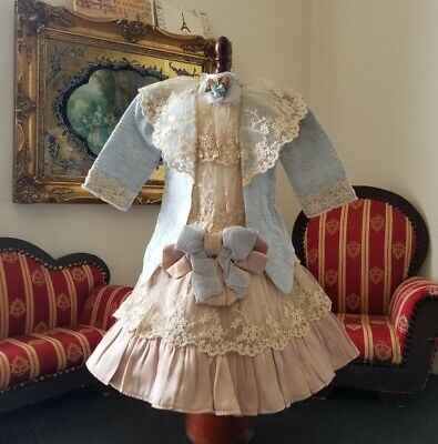 """Vintage French victorian cotton dress 16"""" for antique bisque German doll 24-28"""""""