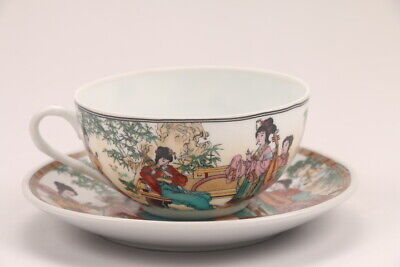 Chinese Colorful porcelain girl Dish & Cup  hp385