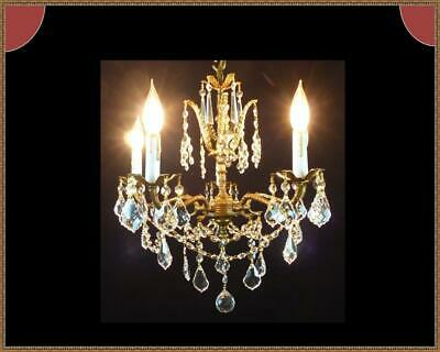 Vintage Antique Brass Chandelier Amazing French Leaded Crystals Stunning Fixture