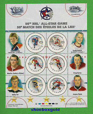 NHL Hockey, 50th All-Star Commemorative Sheet of 6 Stamps, Canada Post - GRETZKY