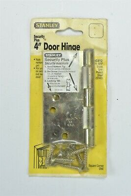 "Vintage NOS STANLEY 4"" DOOR HINGE SECURITY PLUS BRASS TONE PLATED STEEL NIP 6948"