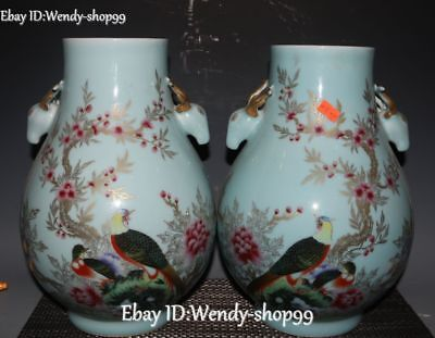 "12"" Colour Porcelain Magpie Plum blossom Peony Deer Head Bottle Vase Jar Pair"