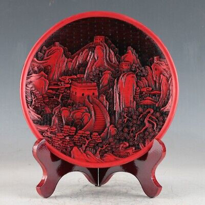 Chinese Lacquerwared Handmade Carved Great Wall Plate QQ01.a