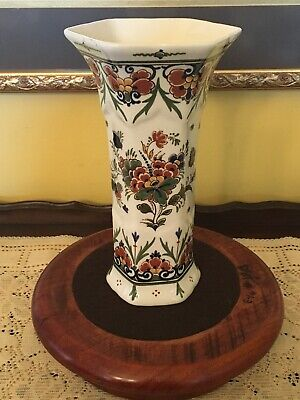 "ROYAL DELFT De Porceleyne Flower Vase 8 1/2"" Tall"