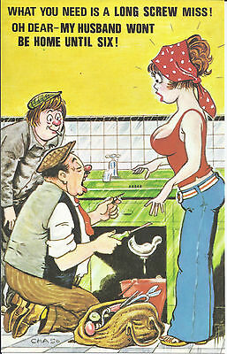 Vintage 1970's Bamforth COMIC Postcard (as new condition) Long Screw miss #570