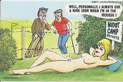 Vintage 1970's Bamforth COMIC Postcard Nudist Camp, Golf, in the rough #110