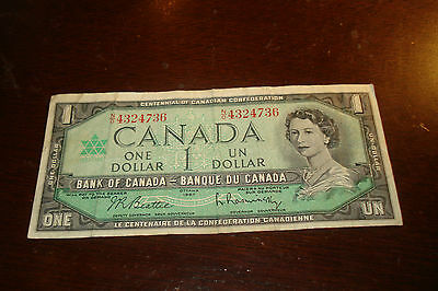 1967 - Bank of Canada $1 note - one dollar bill - NO4324736