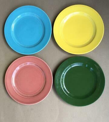 "Homer Laughlin Harlequin 9.25"" Dinner Plates,4 Colors, 1936-1959 F. W. Woolworth"