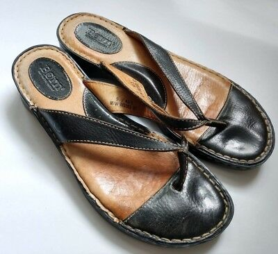 c972d0a07f08 Born Black Leather Thong Open Toe Slide Sandals Shoe Women s Size US 9 Eur  40.5