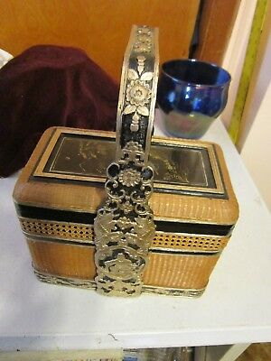 Chinese Wedding Basket Bamboo Weave Hand Painted & Carved Black Lacquer & Gold