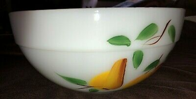 "Vintage White Large Fire-King ""Gay Fad"" Fruit 9"" Mixing Bowl"