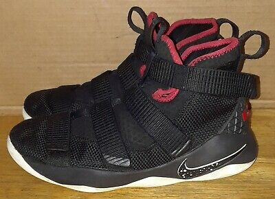 c1062ded920 Nike LeBron Soldier Basketball Sports Shoes Black Red 918369-002 Youth Boys  6.5