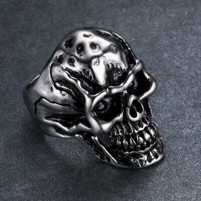 Fashion Men's Silver Stainless Steel Skull Ring Gothic Rocker Vintage Jewelry