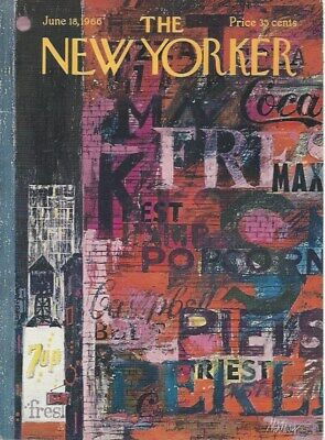 COVER ONLY The New Yorker magazine ~ June 18 1966 ~ MAHOOD ~ Urban Art