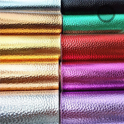 Metallic Litchi Leather Fabric Vinyl Foil Faux Leatherette Decor Material Sheets