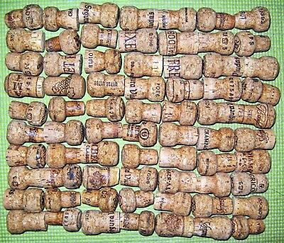 70 Natural Used Champagne Corks. Free US Shipping. No Synthetic, No Wine.
