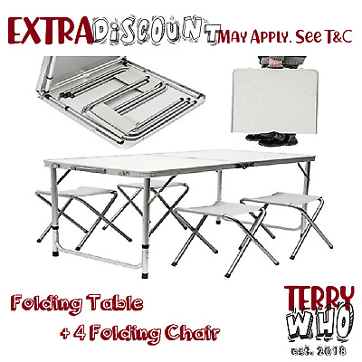 Picnic Camping Set Portable Folding  BBQ Party Aluminium Table+4 Foldable Chairs
