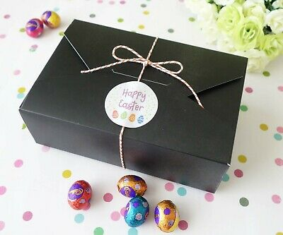 6x Easter BLACK Large Gift Boxes Pastel Cookies Box Sweets Treat Lolly Chocolate
