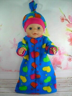 """Dolls clothes for 17"""" Baby Born doll~BLUE~ COLOURFUL HEARTS SLEEPING BAG~HAT SET"""