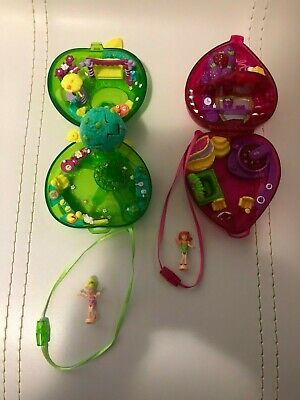 Polly Pocket Fruit Surprise Strawberry & Apple Vintage 2000 With Two Dolls
