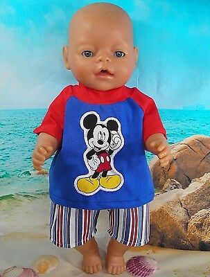 "Dolls clothes for 17"" Baby Born boy doll~MICKEY MOUSE TOP & STRIPED SHORTS SET"