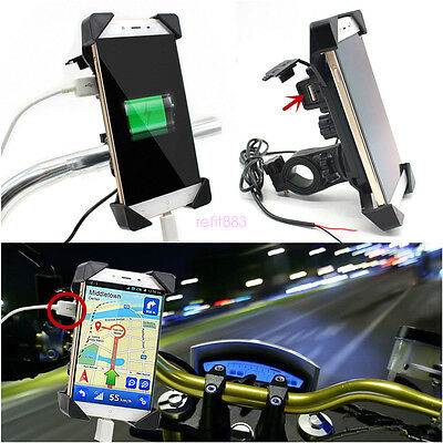 "Universal Motorcycle Bike ATV 3.5-7"" Cell Phone GPS Mount Holder w/ USB Charger"