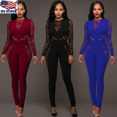 Women's Lace Long Sleeve Mesh Bodycon Party Playsuit Jumpsuit Romper Trousers US